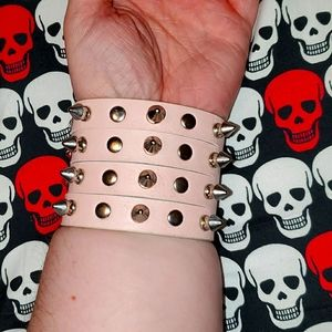 Pastel Goth Pink Spike Stud Faux Leather Cuff